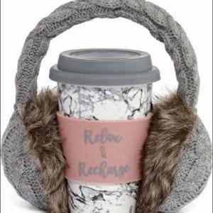 NWT earmuffs and coffee ceramic mug set.